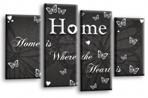 Home Quote Wall Art Print Grey White Love Split Picture